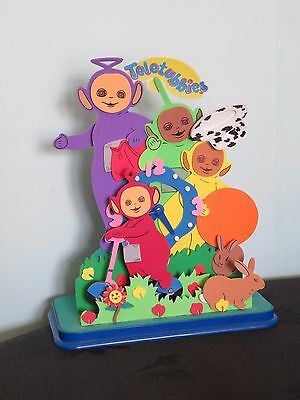 Vintage 1990s Teletubbies character Clock With Moving Foam Figures Chelful