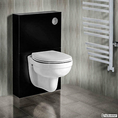Modern Wall Hung Toilet with Black Glass Cabinet High Quality Ceramic Bathroom