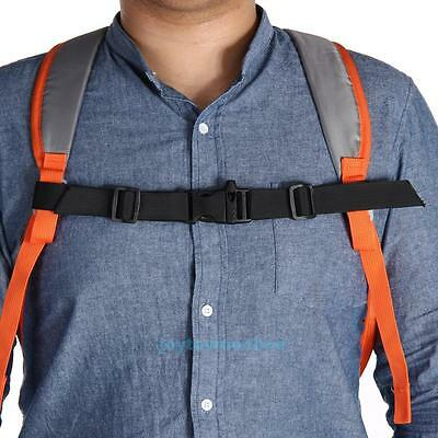 Adjustable Nylon Webbing Strap Backpack Chest Buckle Harness with Whistle Black