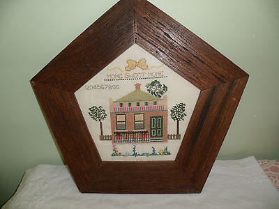 Home Sweet Home Cross Stitch Sampler Old Vintage Colonial House Wood Frame