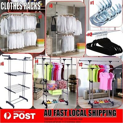 Portable Stainless Steel Clothes Garment Rack Hanger Cloth Shop Display 7 Styles