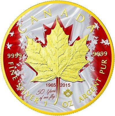 Patriotic Maple Leaf Flag C$5 1oz Fine Silver Coin Gold Plated Canada 2015