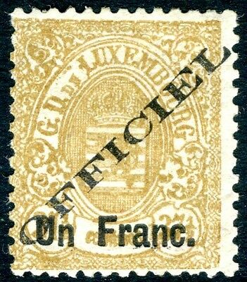 LUXEMBOURG-1875 OVPT S.P 1f on 37½c Bistre Official Sg 096 MOUNTED MINT V15796