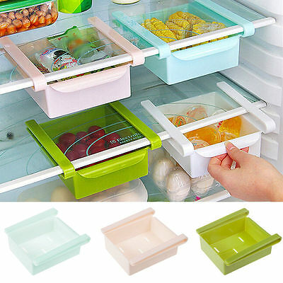 Plastic Kitchen Freezer Space Saver Rack Shelf Holder Organizer Storage Box