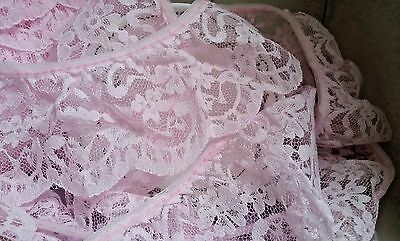 """65mm/2.5"""" Pretty Pink Nottingham Frilled Gathered Lace.*FREE 1ST CLASS POSTAGE*"""