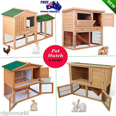 Rabbit Hutch Guinea Pig Chicken Coop Ferret Cage Hen Chook Cat Pet House Wooden
