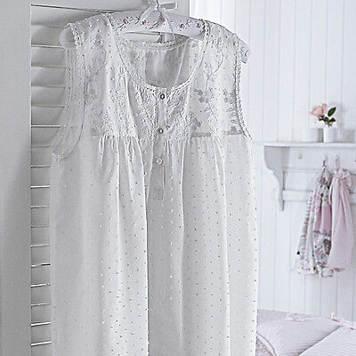 Sashi Bed Linen Marie 100% Cotton Dot Embroidered Nightdress, White