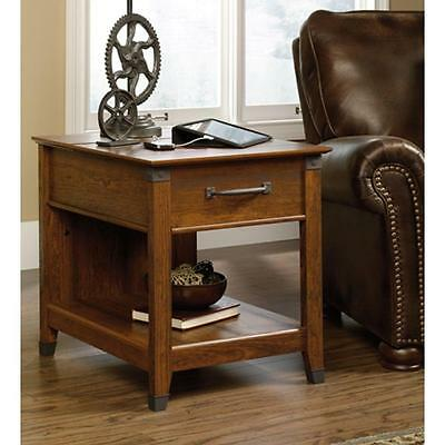 Sauder Carson Forge Collection End Table in Washington Cherry