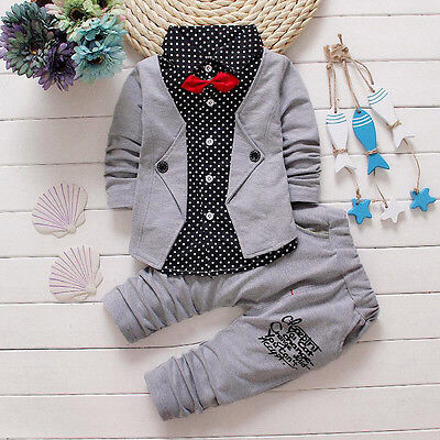 Kid Rompers Gentry Clothes Set Formal Party Christening Wedding Tuxedo Bow Suits