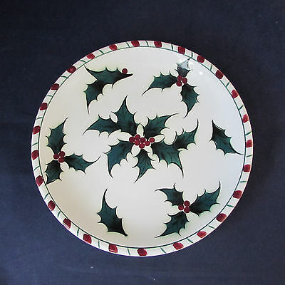 SET OF TWO - Lefton China HOLLY CANDY CANE Luncheon Plates