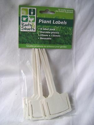 New 8 Plastic Plant Sticks Rectangular Top Reusable With Seed Packet Holder Pms
