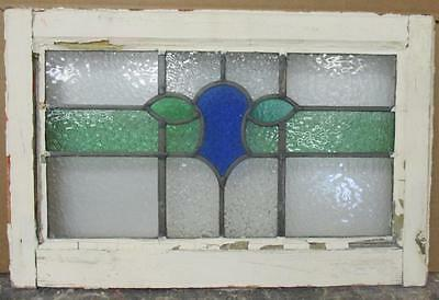 "OLD ENGLISH LEADED STAINED GLASS WINDOW Pretty Abstract 21.5"" x 13.5"""