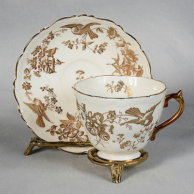 Coalport White & Gold Decorated With Birds & Flowers Teacup & Saucer