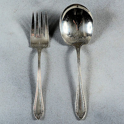 """Community """"sheraton"""" Silver Plate Berry Spoon & Meat Fork"""