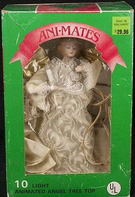 "Animated Light ANGEL Christmas Tree Topper Ornament 12"" Gold Wings SEE VIDEO"