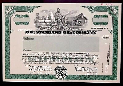 1987 Standard Oil Co. SPECIMEN Stock Certificate - EXTREMELY RARE - 1 OF A KIND!