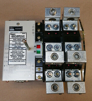 Generac 200 Amp ,250VAC Rated, Transfer Switch