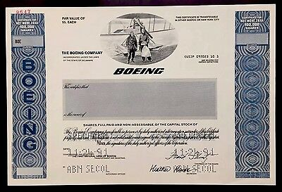 1991 The Boeing Co. SPECIMEN Stock Certificate - EXTREMELY RARE SPECIMEN!!!!!