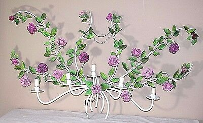 Large Vintage Floral / Roses Tole 5 Light Electric Wall Sconce - 44 inches long!