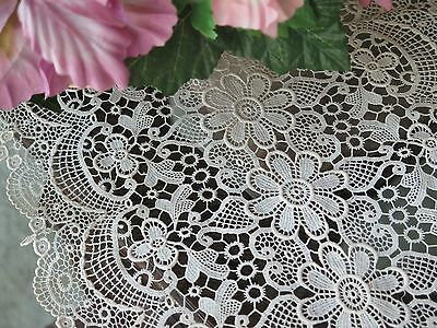 Vintage Schiffli Lace Lovely Floral Table Runner Light Off White (or Shawl)
