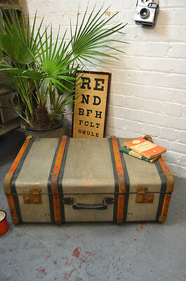 Vintage Wood Banded Steamer Trunk Luggage Coffee Table
