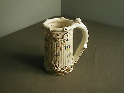 Anitque China Puzzle Mug - Hand Painted Flowers W/ Gold Decorated - Ca 1890