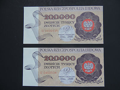 Poland  1989 -200.000 Zlotych - 2 Consective Numbers- Super Gem -Rare