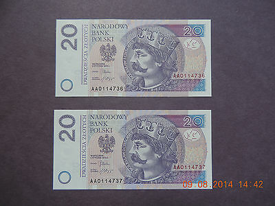 Poland 2012  20 Zlotych - 2 Consective Notes-Gem Unc -Prefix Aa