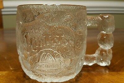 1993 The Flintstones Collectable Etched 3D Glass Mug Cup Rocky Road RocDonald's