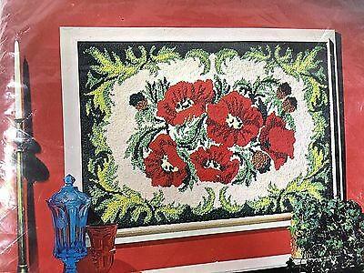 """Vintage American Thread Co. Needle Punch Rug or Wall Hanging """"Poppy"""" #650"""