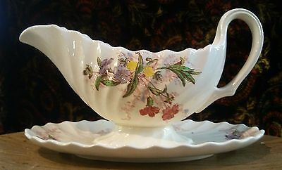 Stunning~Copeland Spode England Fairy Dell Gravy Boat Attached Underplate