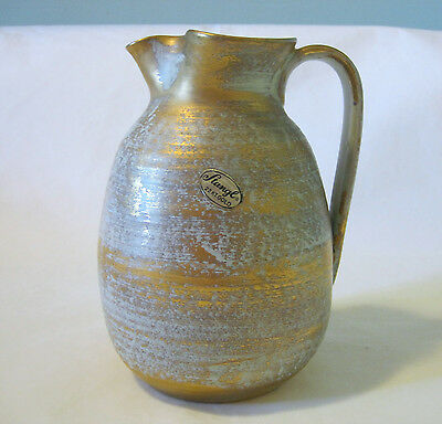"Vintage MCM Art Stangl Pottery Pitcher Ewer Antique Gold 22K 6""H"