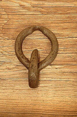 Old Primitive Hand Forged Iron Hook Rustic Vintage Antique Re-Purpose