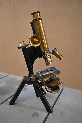 Antique brass Microscope by R. & J. Beck London in mahogany case