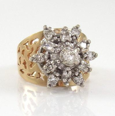 14K Yellow Gold Natural Diamond 0.50ctw Cluster Flower Ring Size 5.5  ZQ2
