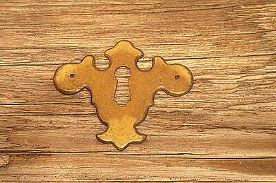 Polished Brass Chipendale Style Keyhole Cover Vintage Furniture Restore