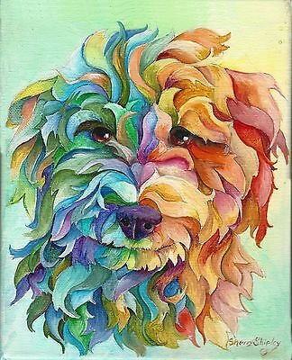 GOLDEN DOODLE 8X10 DOG Print from Artist Sherry Shipley