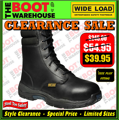 Wide Load Safety Work Boots, HI-TOP STEEL CAP CAP SAFETY. Extra Wide Comfort!