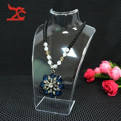 Clear Acrylic Neckform Earring Holder Jewelry Display Pendant Stand Necklace