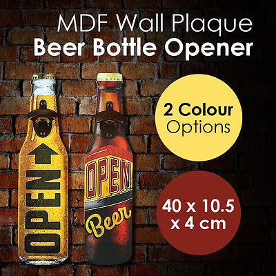 MDF Wall Plaque Beer Bottle Opener Vintage Retro Mounted Wood Board Drink Bar
