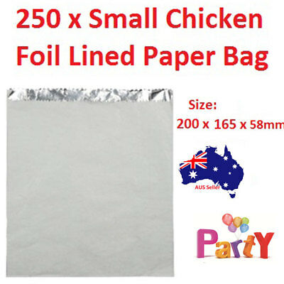 250 Pc Foil Lined Paper Bags Small Kebab Chicken Take Away Chips Bulk Chips