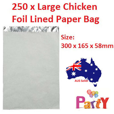 250 Pcs Large Chicken Bags Foil Lined Paper Take Away Chips Bulk Shop Non Greasy