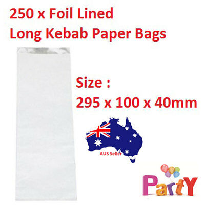 250 Pcs Foil Lined Paper Bags - Long Kebab Sized Take Away Chips Bulk Regular