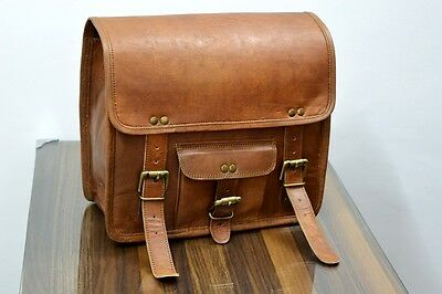 2 Side Pouch Brown Leather Motorcycle bag  Pouch Saddlebags Saddle Bag Panniers