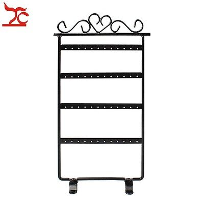 Black Metal 48 Holes Jewelry Display Frame Rack Showcase Studs Earring Holder