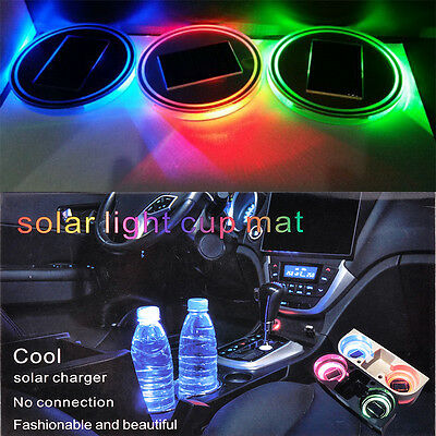 2x Car Solar Cup Holder Bottom Pad LED Light Cover Trim Atmosphere Lamp Lights