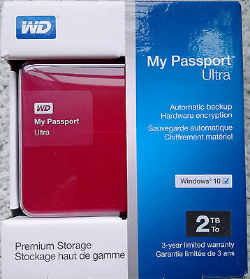 WD My Passport Ultra 2TB Portable Hard Drive in RED Brand New 30 days Exchange