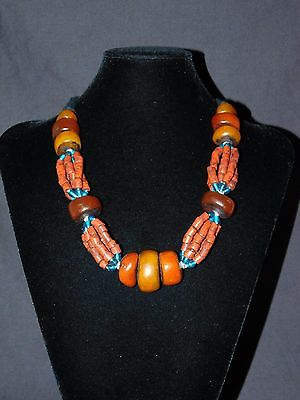 Moroccan Ethnic Berber Necklace With Red Glass Beads & Resin Trade Beads