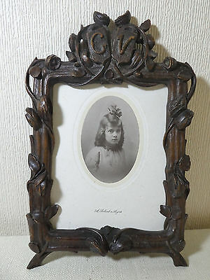 Stunning Antique Treen Black Forest Hand Carved Wood Picture Photo Frame