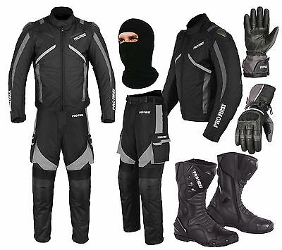 Motorbike Suit Waterproof Motorcycle Cordura Jacket Trouser Gloves Boots - Grey